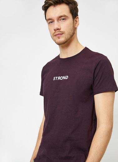 Koton Yazılı Baskılı T-Shirt Bordo